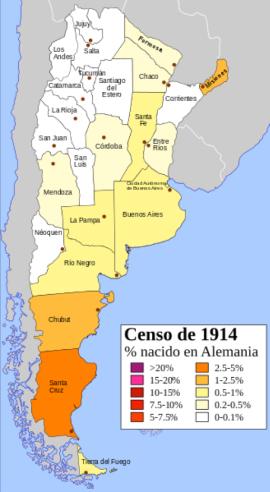"""Población de origen alemán en la Argentina de 1914, Comodoro Rivadavia se encuentra en la provincia de Chubut, hasta 1955 """"territorio nacional"""" dependiente del Ministerio del Interior."""