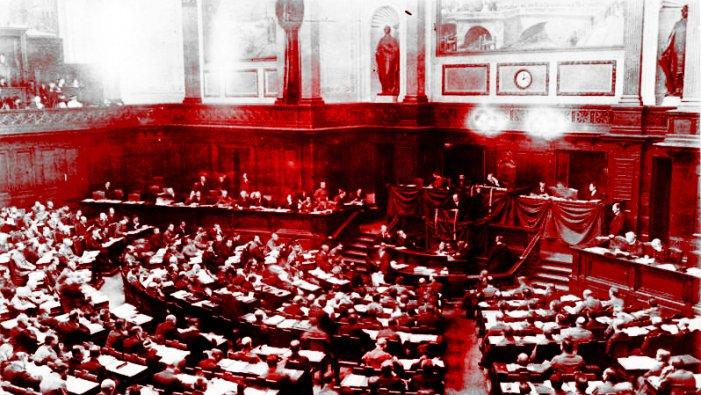 Congreso de los Consejos de Trabajadores y soldados 1919, fotomontaje de Juan Atacho