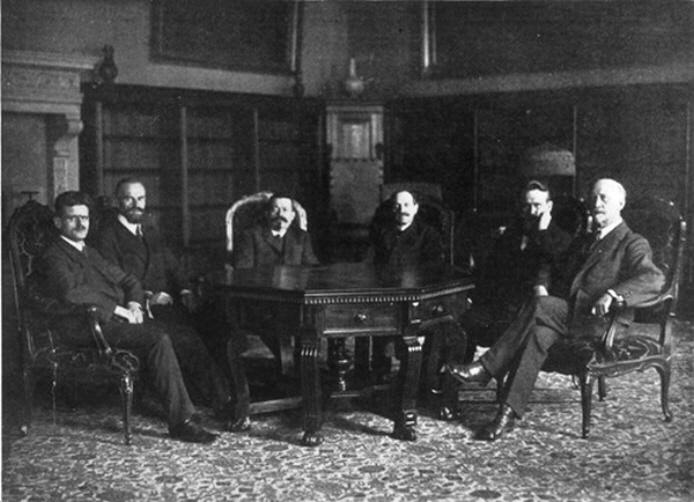 Emil Barth (USPD), Otto Landsberg (SPD), Friedrich Ebert, Hugo Haase (USPD), Wilhelm Dittmann (USPD), Philipp Scheidemann (SPD)